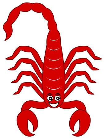 A smiling little red scorpion living in the desert and very happy