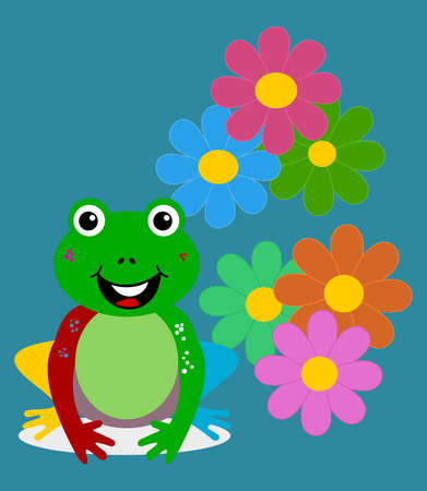 colourful merry carnival frog with spring flower on blue background