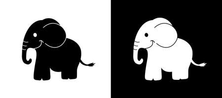 a smiling elephant in black and white with a shadow shape