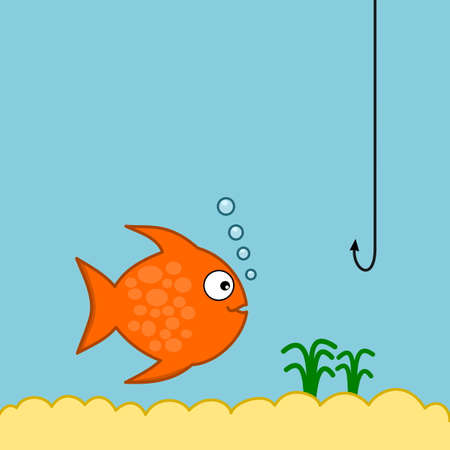 an orange fish swimming in its aquarium and making bubbles