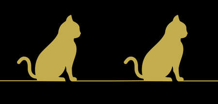 a cat in profile in a golden pattern on a black background