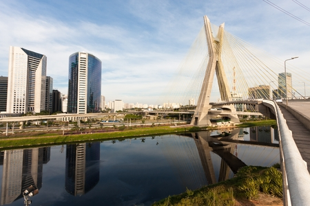 The Octavio Frias de Oliveira bridge is a cable-stayed bridge in Sao Paulo, Brazil over the Pinheiros River, opened in May 2008  photo