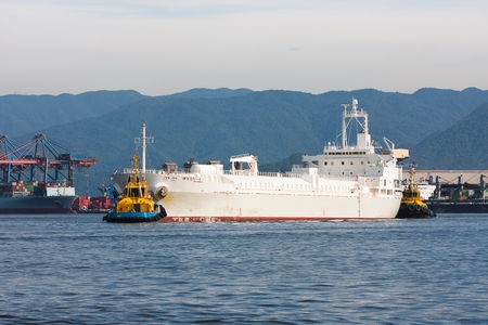 towed: Cargo ship being towed in the Port of Santos, Brazil