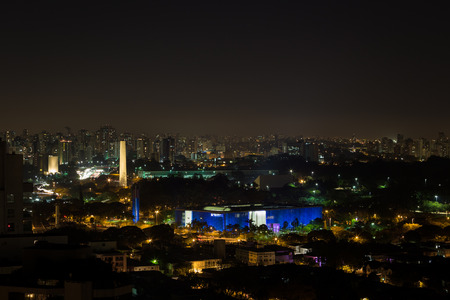 uptown: Night view of the neighborhood Ibirapuera in Sao Paulo, Brazil. Highlighted the Legislative Assembly of Sao Paulo and the Obelisk