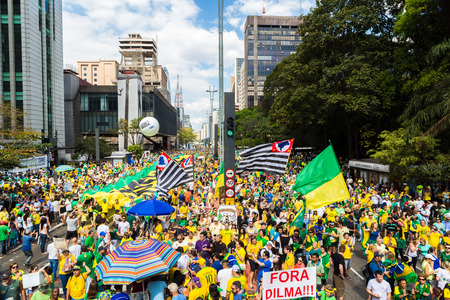 dissatisfaction: Sao Paulo, Brazil, August 16, 2015. Brazilians take the streets of Sao Paulo and all around Brazil demanding President Dilmas impeachment,August 16th, 2015