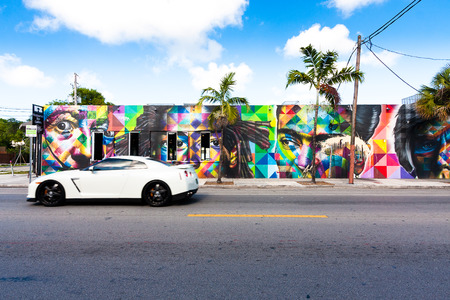 Miami, USA - May 27, 2015. Wynwood is a Miami neighborhood with several galleries of contemporary art and a strong presence of street art. Graffiti artists from various countries have their work the streets there.