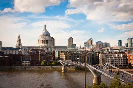 st pauls: St Pauls Cathedral, London, is an Anglican cathedral and Millennium Bridge in London Stock Photo