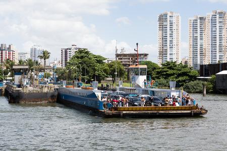 locomotion: Santos, Brazil, january 17, 2015. ferry boat starting the crossing of Santos to Guaruja on January 17, Santos, Brazil Stock Photo