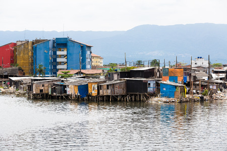 abandonment: Stilt houses on the outskirts of Santos, Brazil. Stock Photo