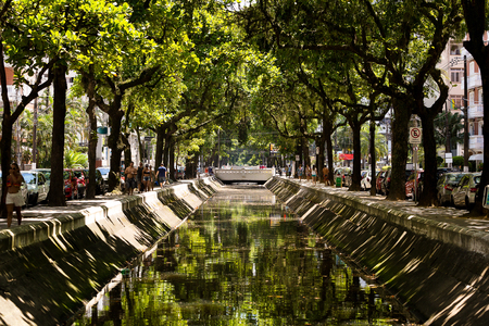 sanitation: Santos channel system was designed by the sanitary engineer Saturnino de Brito to end the sanitation problem the city faced, especially in summer. The project was to separate the waters of rivers and streams of sewage. This is the Channel 3 opened in 1923 Stock Photo