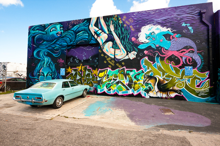 Miami, USA - May 27, 2015. Wynwood is a Miami neighborhood with several galleries of contemporary art and a strong presence of street art.Graffiti artists from various countries have their work there.