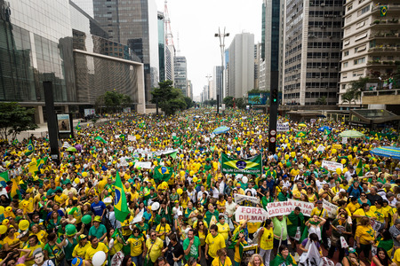 scandals: Sao Paulo, Brazil, March 13, 2016. The Brazilian people take the streets to demand  the impeachment of President Dilma, the arrest of former President Lula and the fall of the PT, Workers Party, sunk in corruption scandals. Editorial