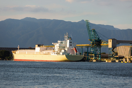 foreign trade: Ship loading at the port of Santos, Brazil