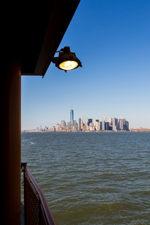 staten: Manhattan view from the ferry to Staten Island Stock Photo