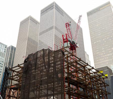 built in: Skyscraper being built in Manhattan, New York.