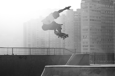 Santos, Brazil. August 2, 2014. skateboarder practicing jumps on a skateboard park in Santos, Brazil.