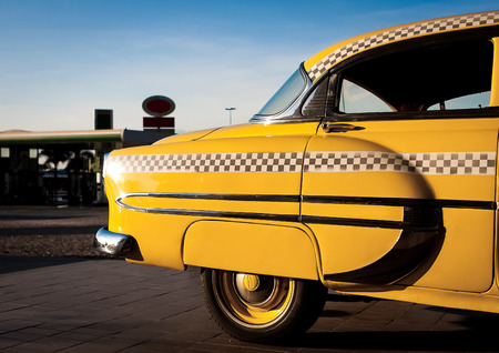 yellow cab: Yellow Cab vintage during the sunset