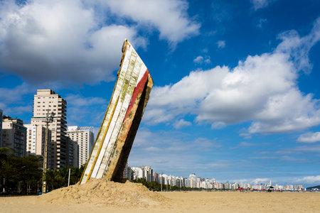 Santos, Brazil. September 27, 2016. Work of the artist installation Mauricio Adinolfi on the beach in Santos, Sao Paulo, Brazil.