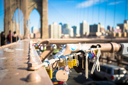 Padlocks placed on the Brooklyn Bridge by dating couples to seal the love