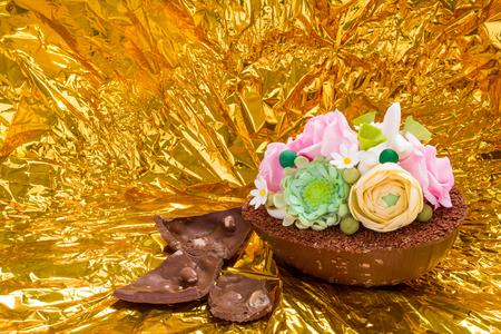 religiosity: Handmade Easter egg with golden background Stock Photo