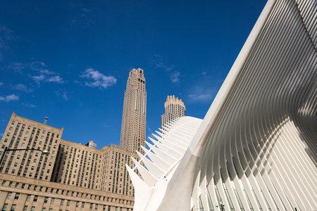 Manhattan, New York,April 11, 2016. Detail of The World Trade Center Transportation Hub designed by Santiago Calatrava  in Manhattan, New York.