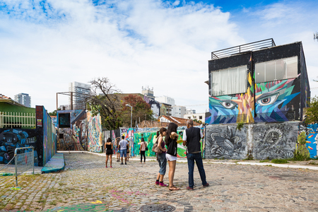 Sao Paulo, Brazil. February 10, 2018. Beco do Batman is a popular tourist destination because of the dense concentration of graffiti that line the streets.