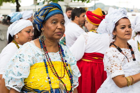 Salvador, Brazil. February 18, 2018. Mães de Santo ( Holy Mothers) on the feast of Iemanja, the queen of the sea, Bahia, Brazil, Brazil.