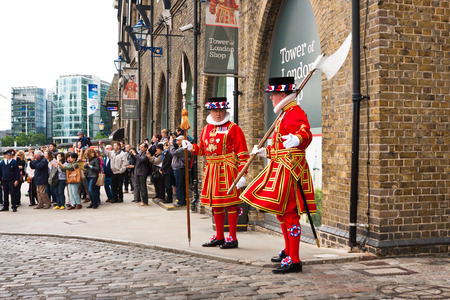London, England. May 23, 2014. Beefeaters at The Tower of London, Yeoman Warder in uniform.