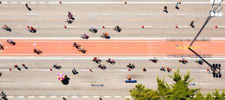 Aerial view of the Paulista Avenue bike lane on a Sunday in Sao Paulo, Brazil,