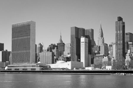 Manhattan skyline highlighting the building of the United Nations