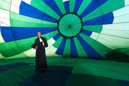 Santos, Brazil. August 8, 2009. Man characterized as Bartolomeu Lourenço de Gusmão (December 1685 – November 18, 1724) was a Portuguese priest and naturalist, who was a pioneer of lighter-than-air airship design. Editorial
