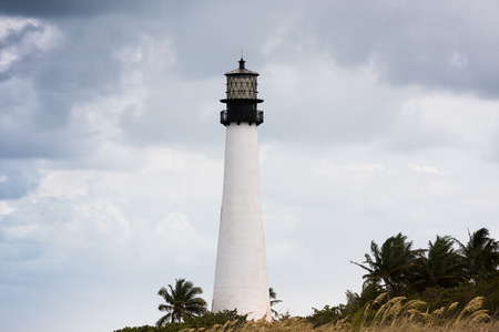 Historic Cape Florida Lighthouse, Key Biscayne, Miami Imagens