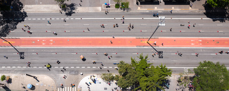 Aerial view of Paulista Avenue in Sao Paulo. On Sundays it becomes leisure area.