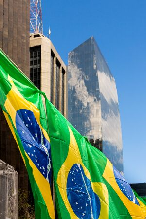 Brazilians flags at Paulista Avenue, in Sao Paulo, Brazil. Stock fotó