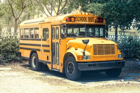 Typical yellow school bus from United States of America