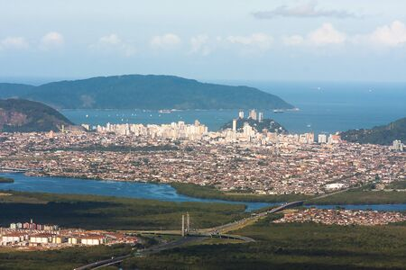 Aerial view of Santos and Sao Vicente city, Brazil.