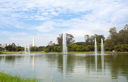 Ibirapuera Park completely empty due to coronavirus quarantine (COVID-19), Sao Paulo, Brazil.