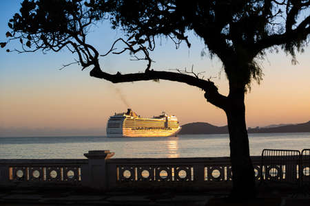 Santos, Brazil. May 05,2020. The ship MSC MUSICA leaving the port of Santos after fulfilling quarantine for having a crew member contracted coronavirus (COVID-19).