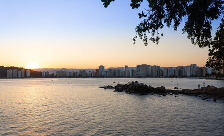View of the city of São Vicente during sunset.