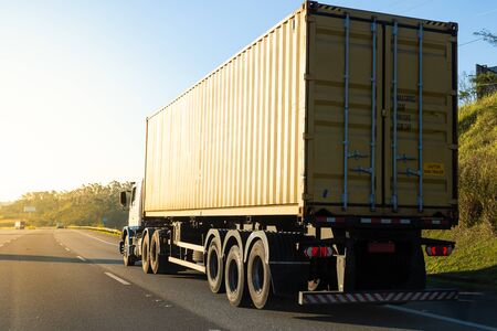 Truck transporting container on the road.