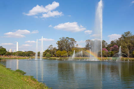 View of Ibirapuera Park with Sao Paulo fountain and obelisk in the background. Stock Photo