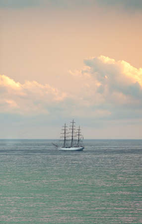 Three-masted sailboat anchored in Santos bay, Brazil.