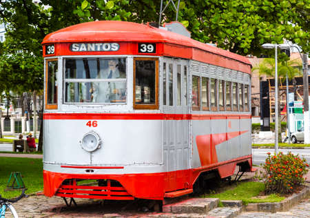 Restored tourist tram that makes walks through the historical center of the city of Santos, Sao Paulo.