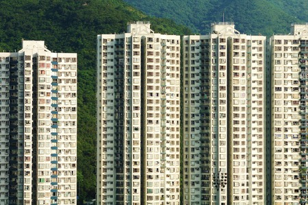 crowded: Hong Kong crowded residential buildings scenery. Editorial