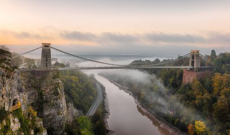 Mist moving down the Avon Gorge on an autumn morning, going under Brunel's Clifton Suspension Bridge.