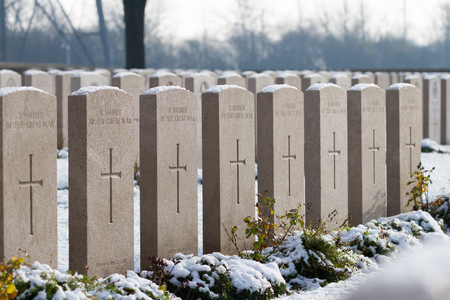 Snow covering the graves of unknown soldiers at the Commonwealth War Graves Commissions (CWGC) Brown's Copse Cemetery in Northen France. Editorial