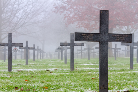 WW1 German Graves on a misty day between autumn and winter.