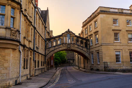 Hertford Bridge, Bridge of Sighs, in Oxford at sunrise with no people around, early in the morning on a clear day with blue sky. Oxford, England, UK. Stock Photo