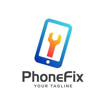 phone reparation logo. phone fixing logo modern.