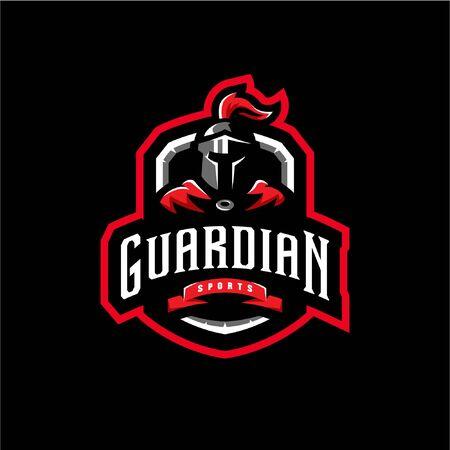 guardian mascot logo illustration. guardian esport gaming logo emblem. Stock Illustratie